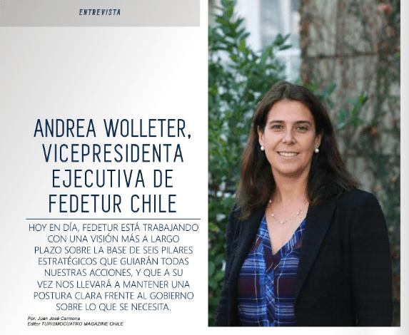 Entrevista Andrea Wolleter, Vicepresidenta Ejecutiva de FEDETUR Chile en Revista Turismo Cuatro